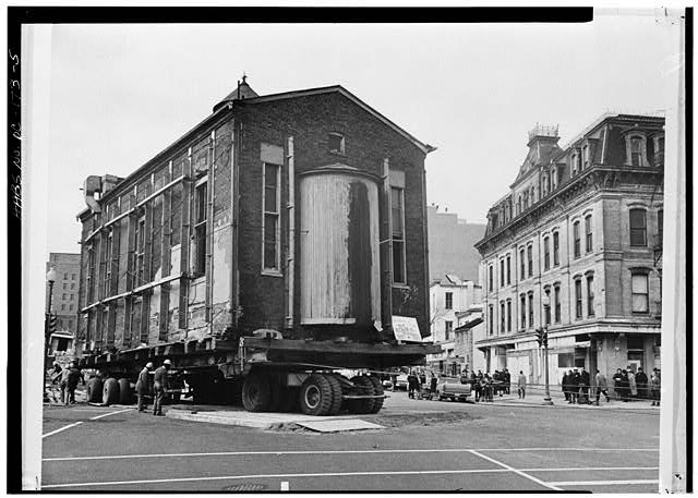 5.  VIEW OF STRUCTURE BEING MOVED TO 3D AND G STREETS, N.W. - Adas Israel Synagogue, Third & G Streets Northwest (moved from Sixth & G Streets Northwest), Washington, District of Columbia, DC