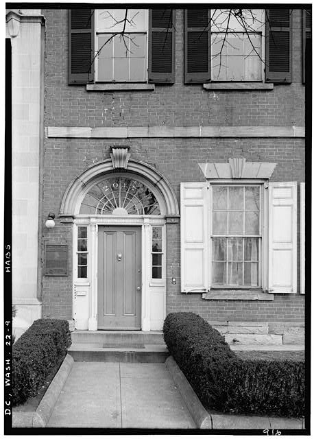 "9.  Historic American Buildings Survey John O. Brostrup, Photographer March 22, 1937 10:00 A.M. DETAIL OF ENTRANCE (south elevation). - Timothy Caldwell House, 2017 ""Eye"" Street Northwest, Washington, District of Columbia, DC"