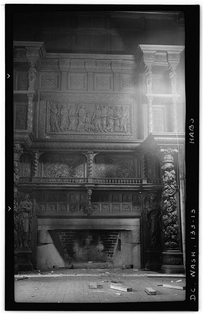 13.  Historic American Buildings Survey Frederick D. Nichols, Photographer December 1938 DETAIL OF RIGHT HALF OF FIREPLACE IN DINING ROOM - John R. McLean House, 1500 I Street Northwest, Washington, District of Columbia, DC