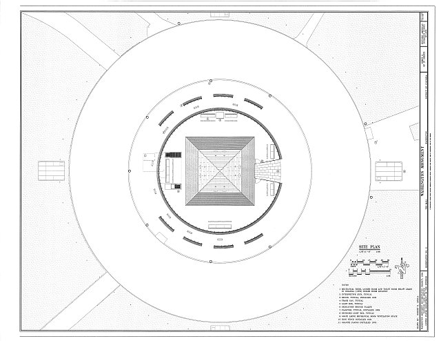 Site Plan - Washington Monument, High ground West of Fifteenth Street, Northwest, between Independence & Constitution Avenues, Washington, District of Columbia, DC