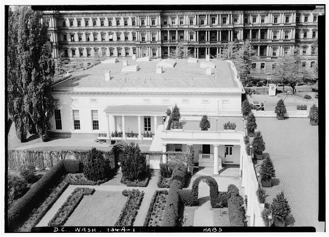 1.  Historic American Buildings Survey Albert S. Burns, Photographer c. 1934-35 BIRD'S EYE VIEW OF WEST WING (Before alterations) - White House, 1600 Pennsylvania Avenue, Northwest, Washington, District of Columbia, DC