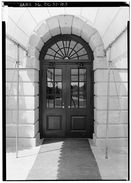 103.  South Porch; View of South Porch Ground Floor Center Door - White House, 1600 Pennsylvania Avenue, Northwest, Washington, District of Columbia, DC