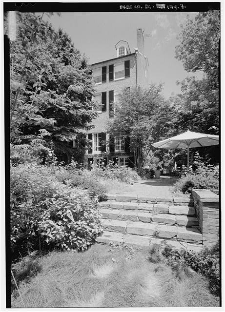 Closer view of garden and east side of the south elevation - Bodisco House, 3322 O Street, Northwest, Washington, District of Columbia, DC