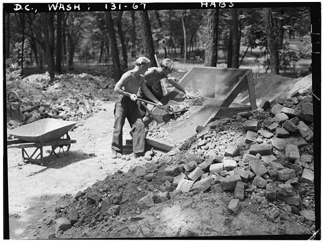 67.  Historic American Buildings Survey John Oliver Brostrup, Photographer August 12,1936 1:35 P. M. VIEW OF C.C.C. BOYS SCREENING FOR ARTIFACTS. - General John Mason House, Analostan Island or Theodore Roosevelt Island, Washington, District of Columbia, DC