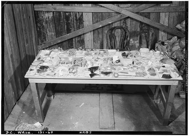 68.  Historic American Buildings Survey John O. Brostrup, Photographer August 27, 1936 8:15 A. M. FINDINGS IN MASON HOUSE RUINS. - General John Mason House, Analostan Island or Theodore Roosevelt Island, Washington, District of Columbia, DC