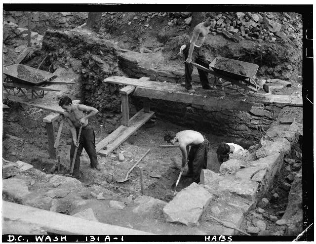71.  Historic American Buildings Survey John O. Brostrup, Photographer August 12, 1936 1:30 P. M. VIEW OF C.C.C. BOYS EXCAVATING IN UNIT A. - General John Mason House, Analostan Island or Theodore Roosevelt Island, Washington, District of Columbia, DC