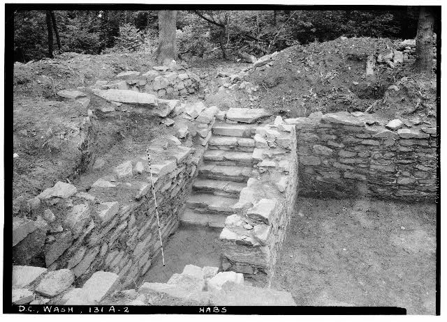 72.  Historic American Buildings Survey John O. Brostrup, Photographer August 21, 1936 2:25 P.M. VIEW OF NORTHEAST CORNER OF BASEMENT UNIT A. - General John Mason House, Analostan Island or Theodore Roosevelt Island, Washington, District of Columbia, DC