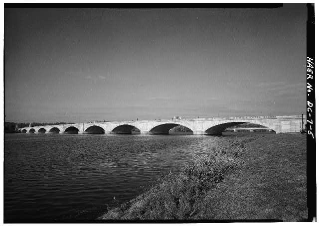 South elevation. - Arlington Memorial Bridge, Spanning Potomac River between Lincoln Memorial & Arlington National Cemetery, Washington, District of Columbia, DC