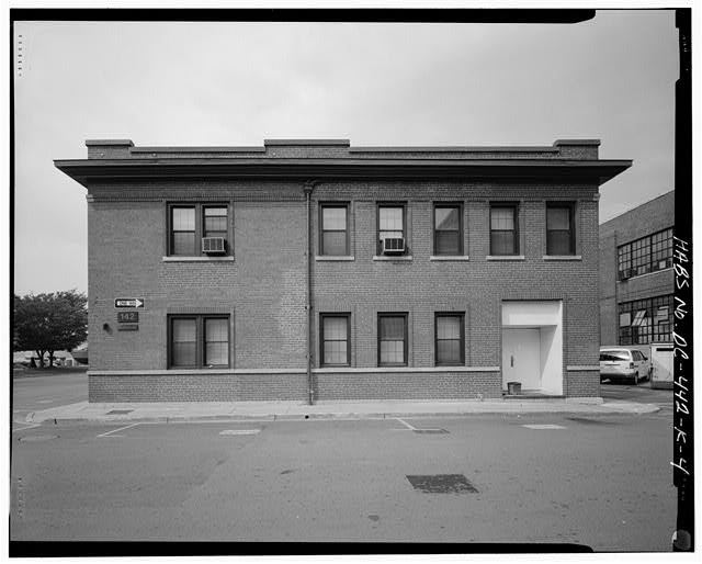 East elevation, looking west - Navy Yard, Building No. 142, Intersection of Sicard Street & Patterson Avenue, Washington, District of Columbia, DC