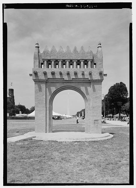 "VIEW OF ADOBE ARCH (EAST ELEVATION) LOOKING WEST ALONG MALL; NOTE WASHINGTON MONUMENT IN BACKGROUND AND SMITHSONIAN ""CASTLE"" TO SOUTHWEST  - Adobe Structure (Temporary), Washington, District of Columbia, DC"