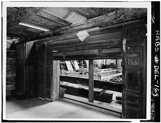 9.  Historic American Buildings Survey HABS Photocopy made from photograph from the Smithsonian Institution, Washington, D.C. PANELED FIREPLACE WALL IN DELAWARE LOG HOUSE (PANELING ORIGINALLY IN FIRST FLOOR OF ROBINSON-MURRAY HOUSE) C. 1958 - Robinson-Murray House, Limestone Road, Milltown, New Castle County, DE