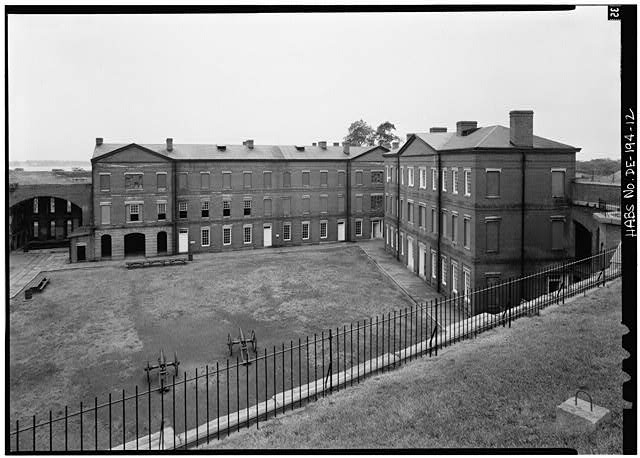 12.  PARADE GROUND WITH OFFICERS' QUARTERS, LOOKING WEST - Fort Delaware, Pea Patch Island, Delaware City, New Castle County, DE