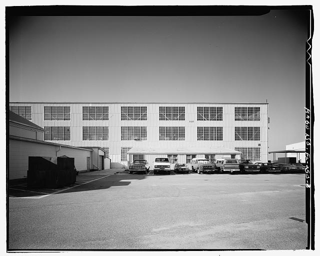 EAST ELEVATION, PARTIAL VIEW - U.S. Naval Air Station, Aircraft Repair Shop, Pensacola, Escambia County, FL