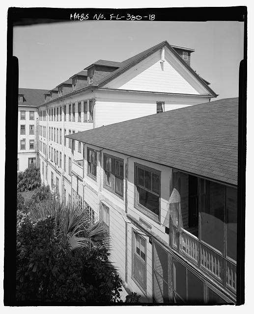 FRONT, CENTRAL STRUCTURE PORCHES (SECOND AND THIRD LEVEL) AND PORTION OF NORTH WING:  CAMERA DIRECTION NORTH - Ormond Hotel, 15 East Granada, Ormond Beach, Volusia County, FL