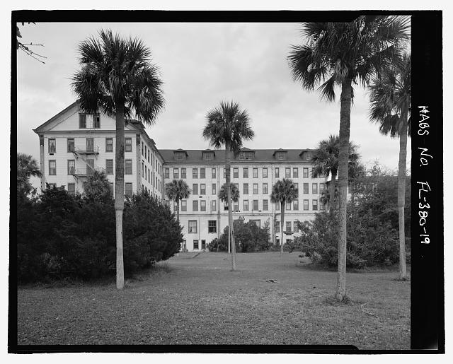 FRONT, NORTH WING:  CAMERA DIRECTION EAST - Ormond Hotel, 15 East Granada, Ormond Beach, Volusia County, FL
