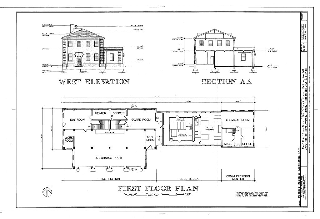 West elevation section and first floor plan macdill for Elevation house plans