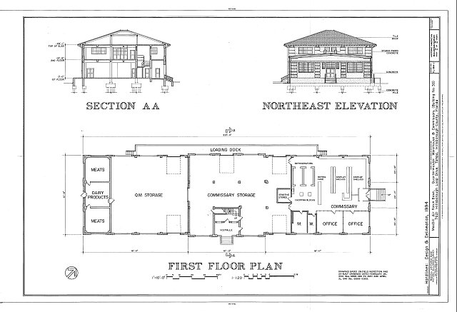 Floor Elevation Survey : Section northeast elevation and first floor plan