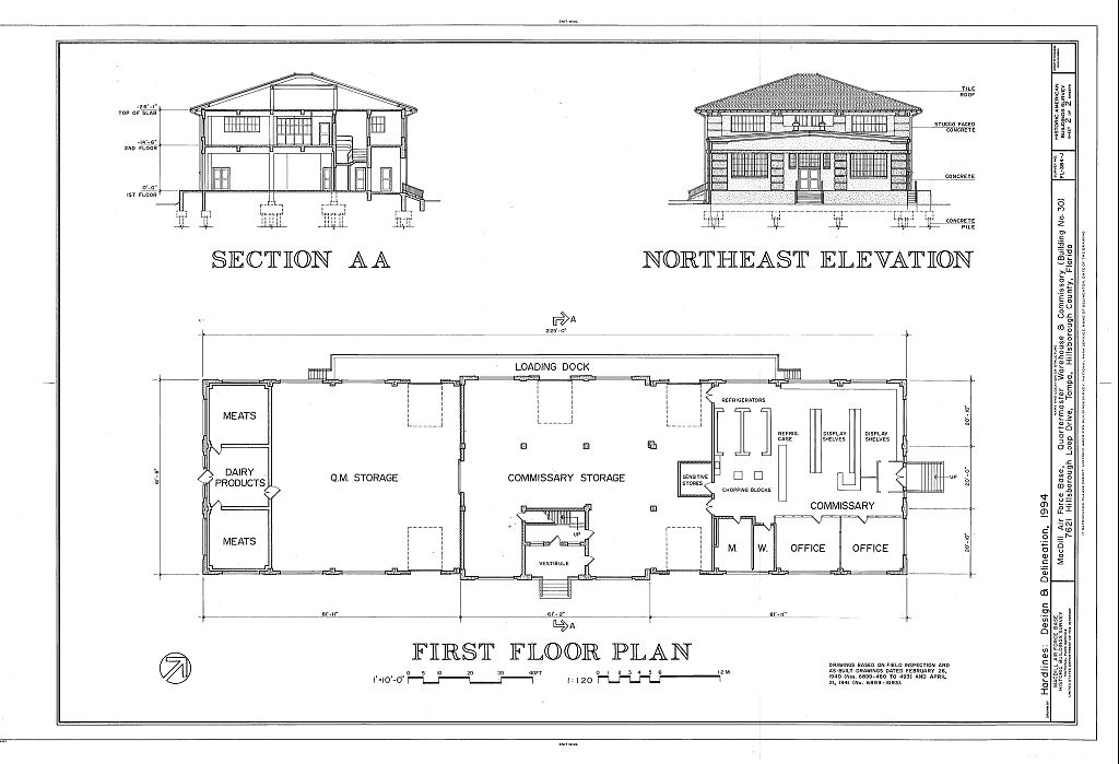 Floor Elevation Difference : Section northeast elevation and first floor plan