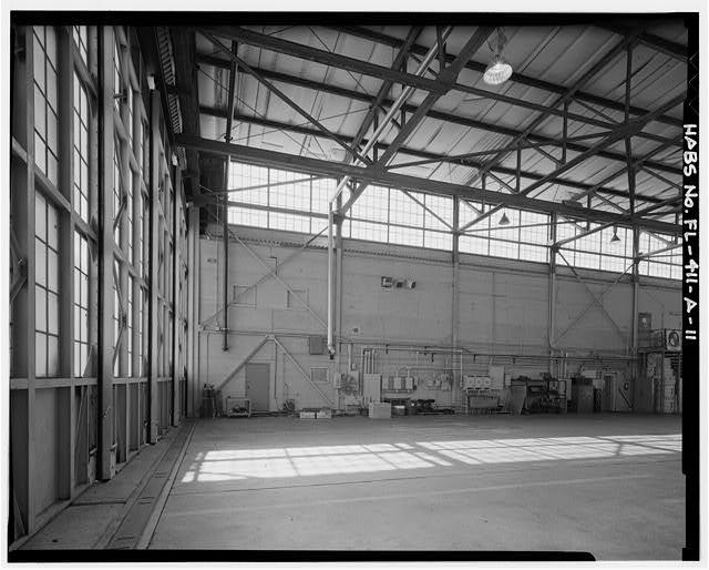SOUTHEAST CORNER INTERIOR HANGAR WALL - Eglin Air Force Base, Hangar No. 1, 505 Choctawhatchee Avenue, Valparaiso, Okaloosa County, FL