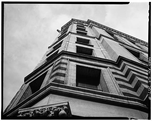 8.  DETAIL, CORNER FACADE, LOOKING UP - Equitable Building, 25 Pryor Street Northeast, Atlanta, Fulton County, GA