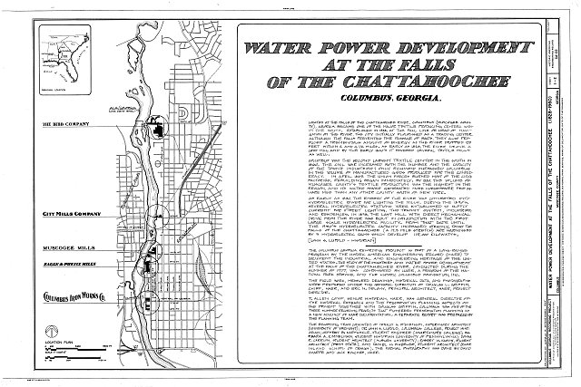 HAER GA,108-COLM,16- (sheet 1 of 2) - Water Power Development at Falls of Chattahoochee, Chattahoochee River, Columbus, Muscogee County, GA