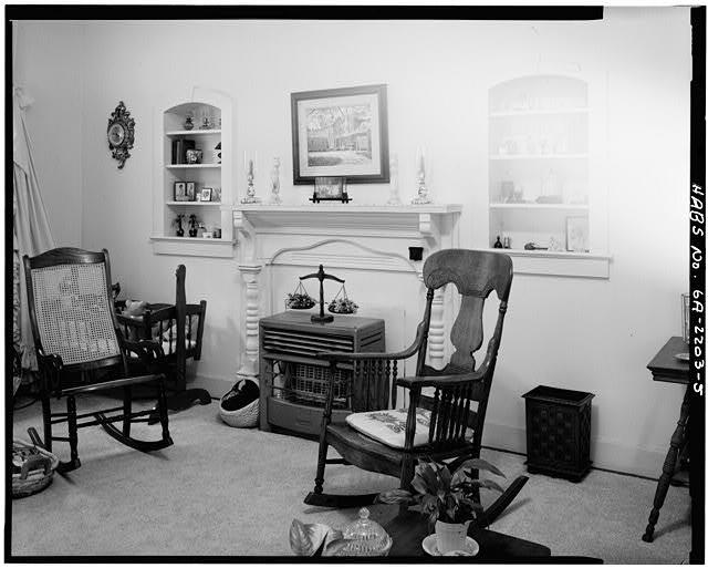 5.  INTERIOR, LIVING ROOM, NORTHEAST WALL WITH FIREPLACE - Rosalynn Carter Childhood Home, 219 South Bond Street, Plains, Sumter County, GA