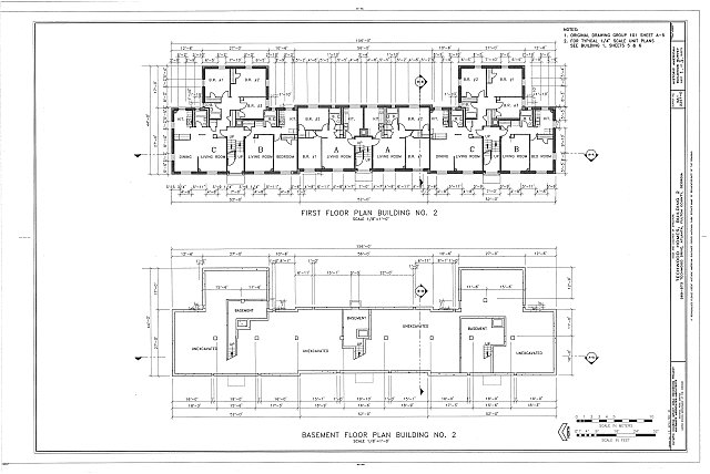 HABS GA,61-ATLA,60D- (sheet 1 of 3) - Techwood Homes, Building No. 2, 569-573 Techwood Drive, Atlanta, Fulton County, GA