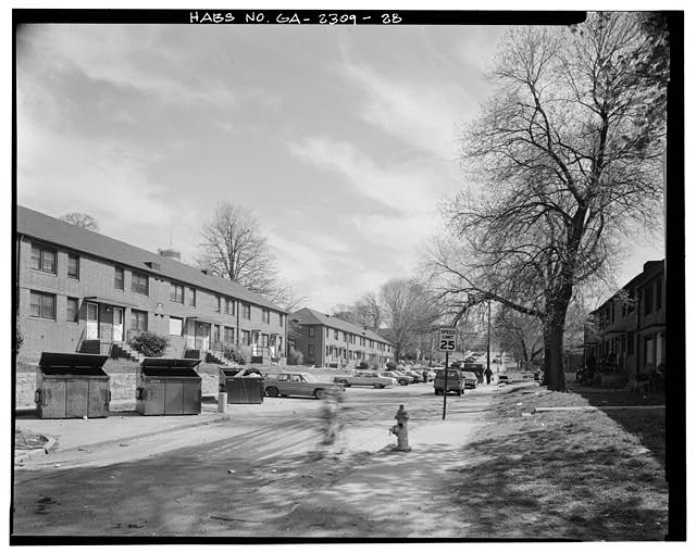 28.  In context, from northwest facing southeast on Venable Street, west side of Building A-3, left. - Clark Howell Homes (Public Housing), Bounded by North Avenue, Lovejoy Street, Mills Street & Luckie Street, Atlanta, Fulton County, GA