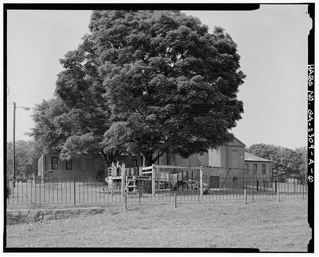 6.  North side and playground, from northeast facing southwest - Clark Howell Homes, Community Center, 528 Lovejoy Street, Atlanta, Fulton County, GA