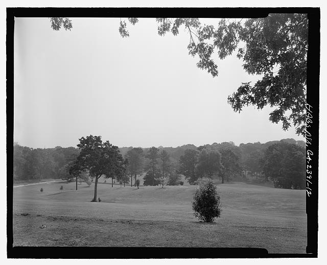 FACING NORTHEAST ACROSS NORTHERN END OF PARK TOWARDS ITS NORTHERN CORNER - Candler Park Historic District, Roughly bounded by Moreland, Dekalb, McLendon & Harold Avenues, Matthews Street  & Clifton Terrace, Atlanta, Fulton County, GA