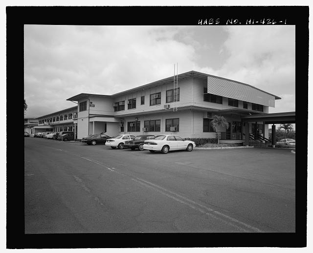 OBLIQUE SHOWING SOUTHWEST END AND NORTHWEST SIDE. - U.S. Naval Base, Pearl Harbor, Combat Intelligence Center, Makalapa Drive in Makalapa Administration Area, Pearl City, Honolulu County, HI