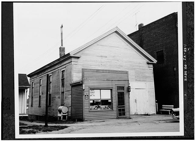 1.  GENERAL VIEW OF BUILDING PRIOR TO RELOCATION AND RESTORATION - Quaker Meetinghouse, Downey Street, Wapsinono Creek Vicinity, West Branch, Cedar County, IA