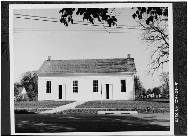 3.  WEST ELEVATION OF BUILDING SHORTLY AFTER RESTORATION AND BEFORE NORTH (END) PORCH WAS ADDED - Quaker Meetinghouse, Downey Street, Wapsinono Creek Vicinity, West Branch, Cedar County, IA