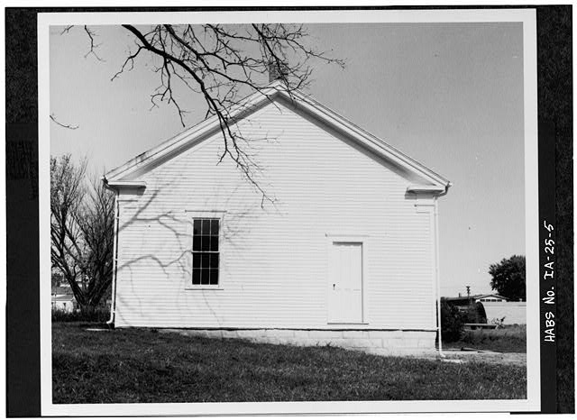 5.  SOUTH ELEVATION SHORTLY AFTER RESTORATION - Quaker Meetinghouse, Downey Street, Wapsinono Creek Vicinity, West Branch, Cedar County, IA
