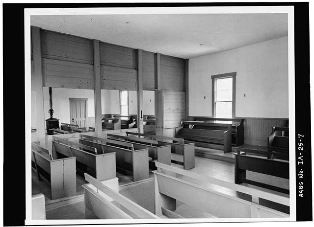 7.  Photocopy of photograph (from Herbert Hoover National Historic Site) Photographer unknown, 1977 GENERAL INTERIOR VIEW OF MEETINGHOUSE - Quaker Meetinghouse, Downey Street, Wapsinono Creek Vicinity, West Branch, Cedar County, IA