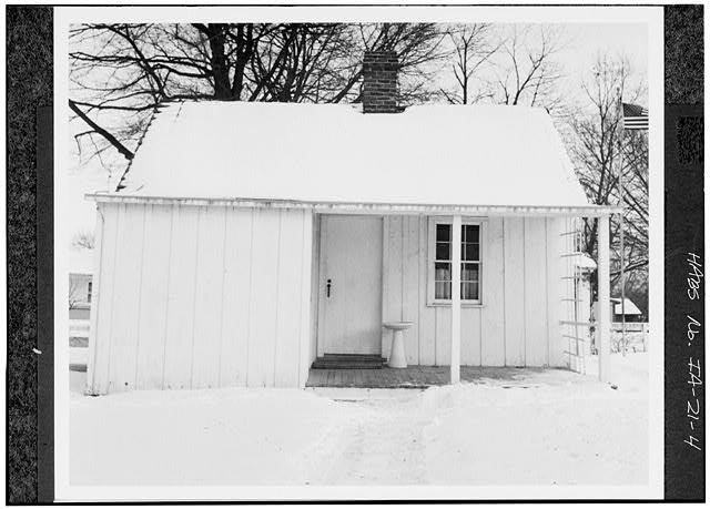 4.  WEST REAR - Herbert Hoover Birthplace House, Southwest corner of Penn & Downey Streets (moved), West Branch, Cedar County, IA