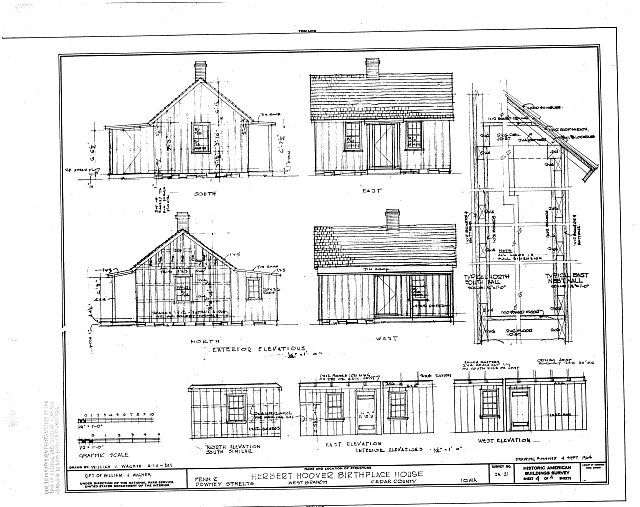 HABS IOWA,16-WEBRA,1- (sheet 4 of 4) - Herbert Hoover Birthplace House, Southwest corner of Penn & Downey Streets (moved), West Branch, Cedar County, IA