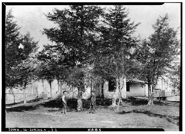 1.  Historic American Buildings Survey Reproduction of Old Photograph. Date Unknown. VIEW OF SOUTH AND EAST ENTRANCES - William Maxson House, State Highway No. 1, Springdale, Cedar County, IA