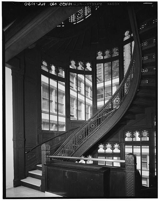 8.  Historic American Buildings Survey Philip Turner, Photographer Summer 1967 INTERIOR - STAIRTOWER - Rookery Building, 209 South LaSalle Street, Chicago, Cook County, IL