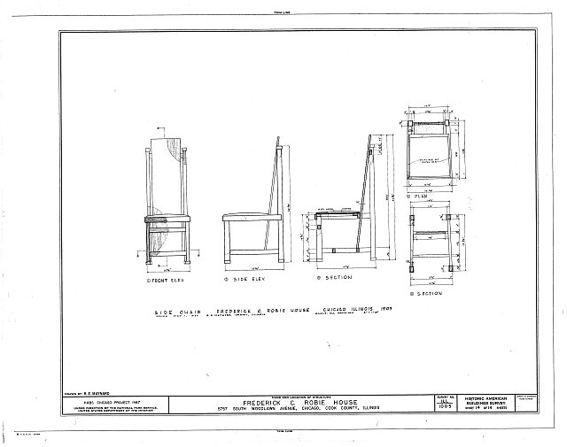 HABS ILL,16-CHIG,33- (sheet 14 of 14) - Frederick C. Robie House, 5757 Woodlawn Avenue, Chicago, Cook County, IL