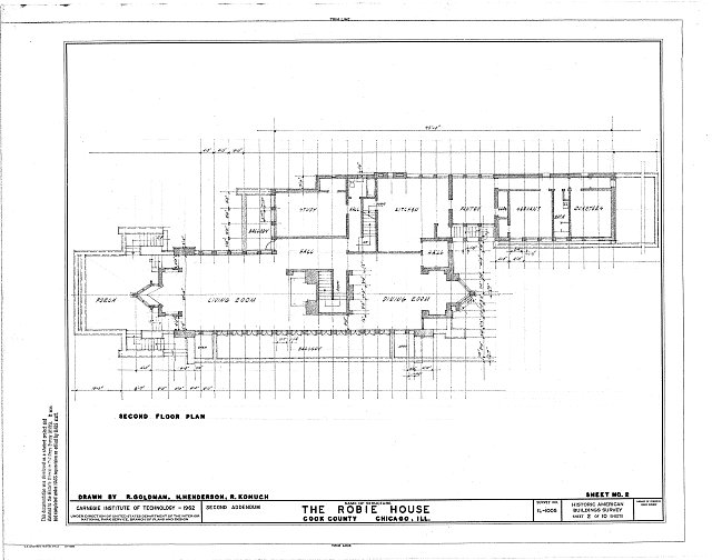 HABS ILL,16-CHIG,33- (sheet 2 of 10) - Frederick C. Robie House, 5757 Woodlawn Avenue, Chicago, Cook County, IL