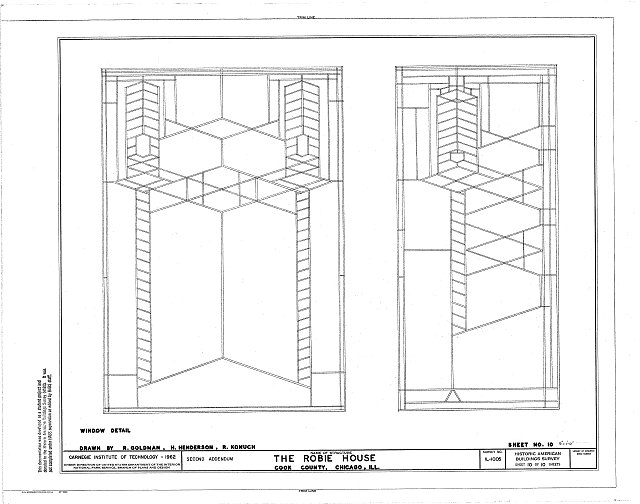 HABS ILL,16-CHIG,33- (sheet 10 of 10) - Frederick C. Robie House, 5757 Woodlawn Avenue, Chicago, Cook County, IL