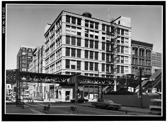 1.  Historic American Buildings Survey Cervin Robinson, Photographer 21 July 1963 SOUTH AND EAST ELEVATIONS FROM SOUTHWEST - Leiter I Building, 200-208 West Monroe Street, Chicago, Cook County, IL