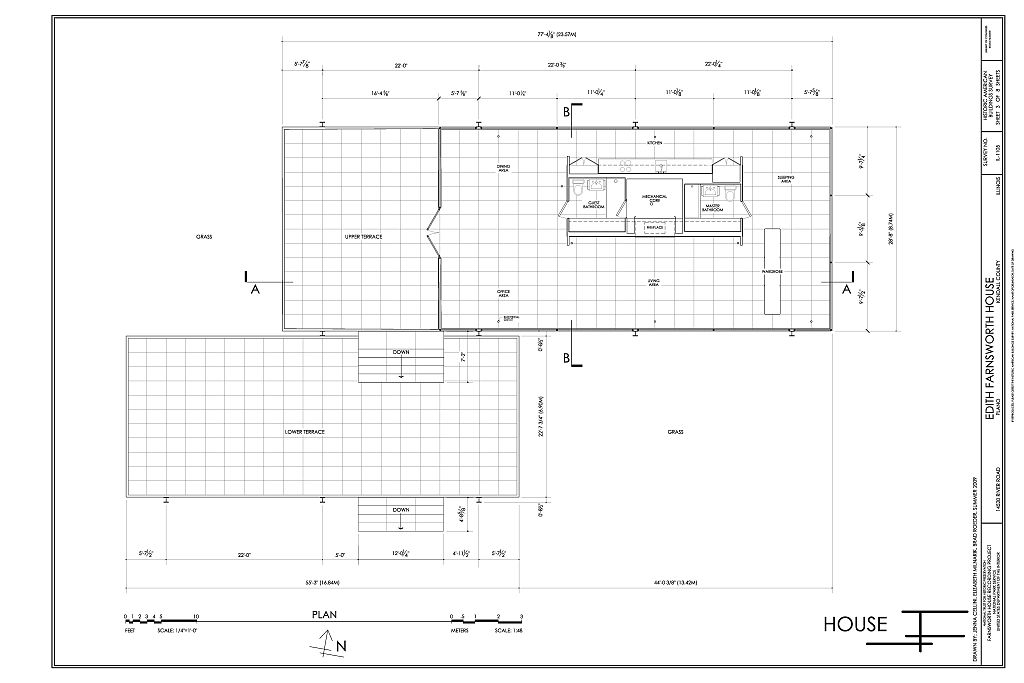 Plan Edith Farnsworth House 14520 River Road Plano