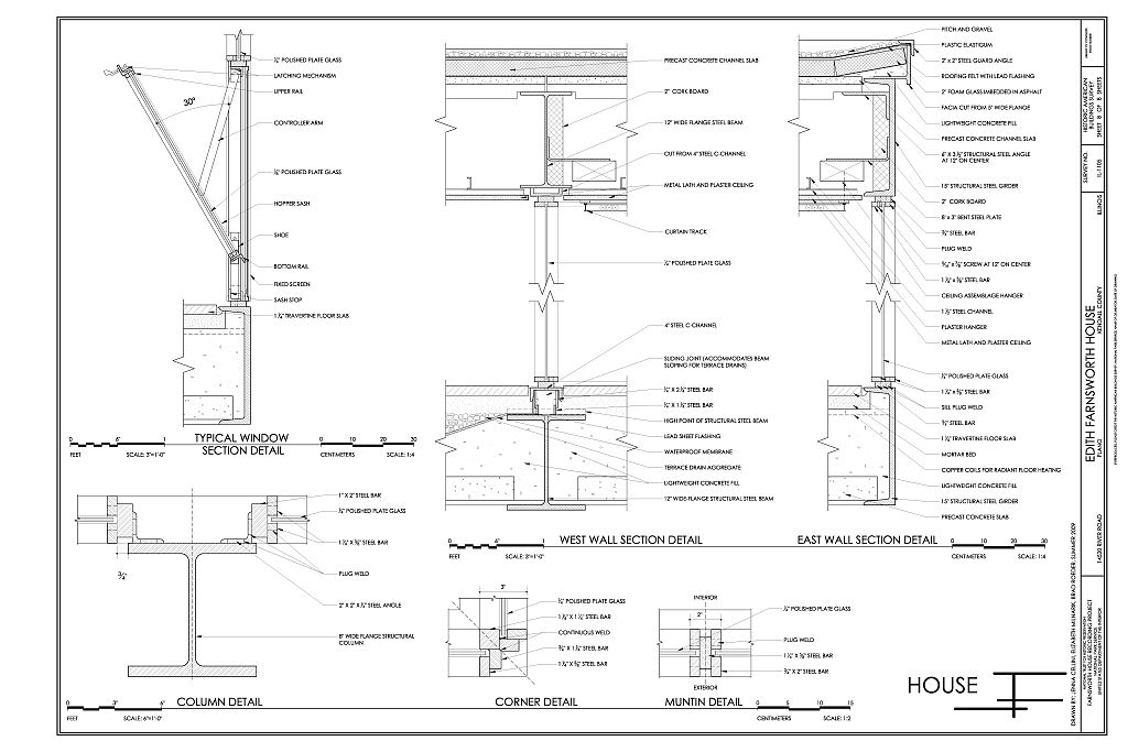 Details of walls window and columns edith farnsworth for Blueprints and plans for hvac pdf