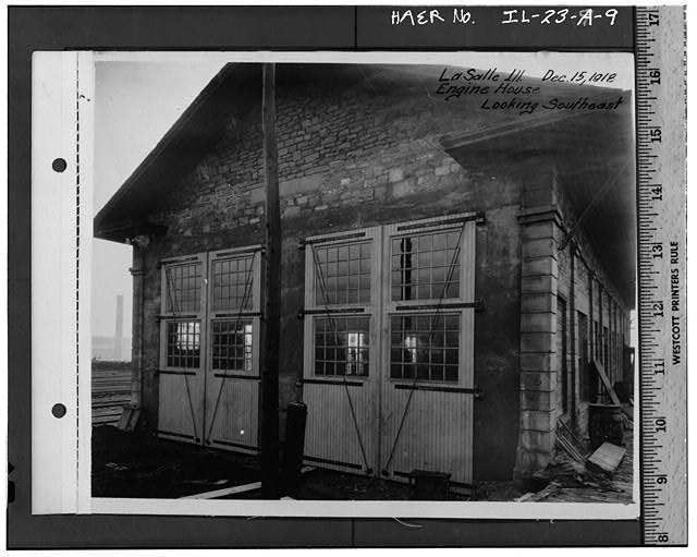 9.  Historic photograph (from Illinois Central Railroad), photographer unknown, 1918 NORTH FACADE, TAKEN IN 1918, SHOWING DOUBLE DOORS FOR ENGINE HOUSE - Illinois Central Railroad, Freight Depot No. 1, North of First Street, east of Union Street, La Salle, La Salle County, IL