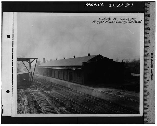 1.  Historic photograph (from Illinois Central Gulf Railroad), photographer unknown, 1918 NEW FREIGHT DEPOT, TAKEN IN 1918, DURING THE CONVERSION OF THE ORIGINAL FREIGHT DEPOT INTO AN ENGINE HOUSE - Illinois Central Railroad, Freight Depot No. 2, North of First Street, east of Union Street, La Salle, La Salle County, IL
