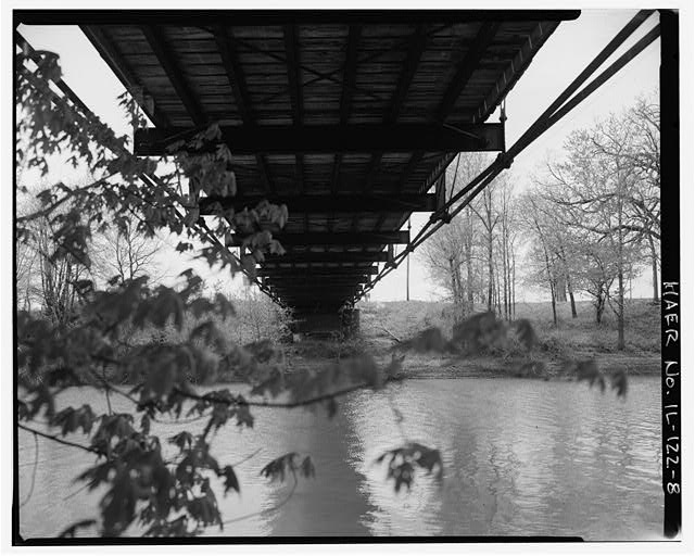 8.  UNDERCARRIAGE OF DECK, VIEW TO WEST - Fidler Bridge, Spanning Iroquis River at County Highway 45, Watseka, Iroquois County, IL