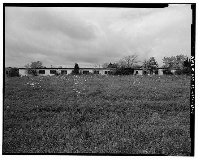 1.  BARRACKS, LONGER BUILDING, FRONT, LOOKING WEST. - NIKE Missile Base C-84, Longer Barracks, South of Launch Area Entrance Drive, Barrington, Cook County, IL