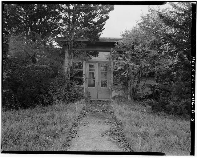5.  BARRACKS, LONGER BUILDING, FRONT CLOSE-UP OF DOORS, LOOKING WEST. - NIKE Missile Base C-84, Longer Barracks, South of Launch Area Entrance Drive, Barrington, Cook County, IL